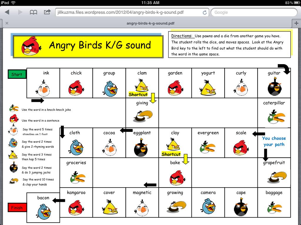 Angry Birds Articulation Games | Jill Kuzma's SLP Social ...