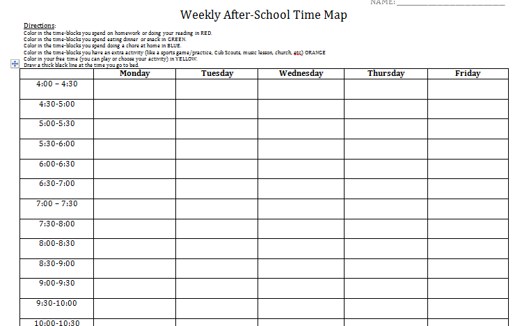 Student log to get baseline of time management needs after school after school time log altavistaventures
