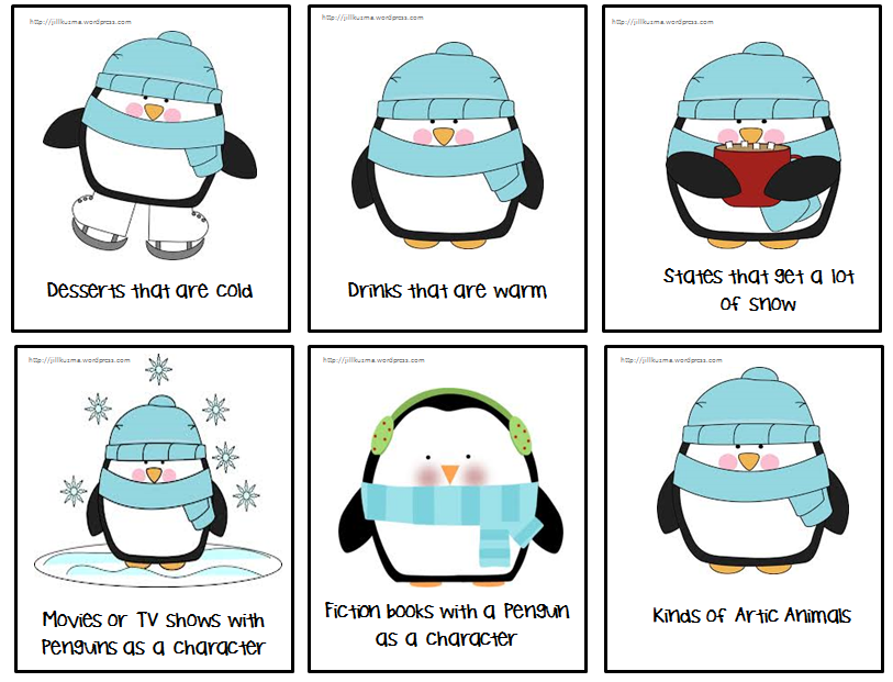 Penguin Themed Vocabulary Categorization Cards : Jill ...