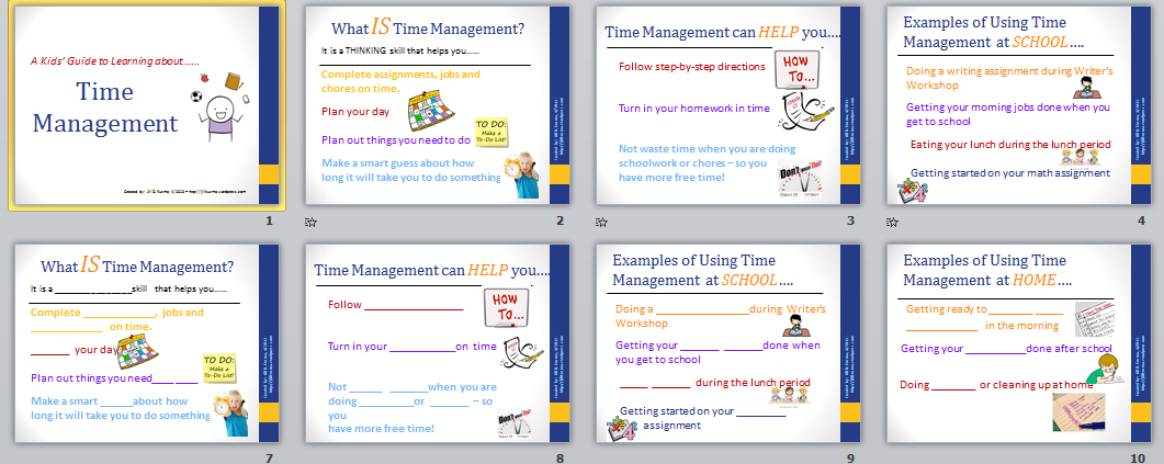 Time Management Powerpoint For Kids Jill Kuzma S Slp Social