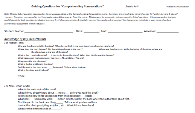 Guiding Quesitons Comp Rubric