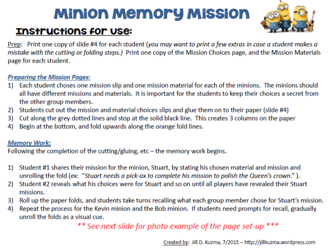 Minion Memory Mission Directions